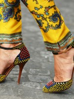 Sandals with gorgeous intricate colour details, colourful scarf print trousers.